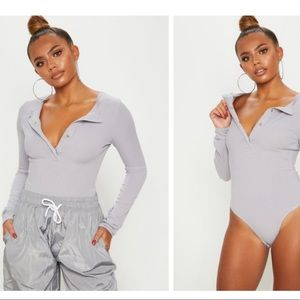 NEW Grey Marl Long Sleeve Rib Popper Bodysuit
